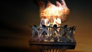 Ben Franklin and Mark Ttwain at EPCOT American Adventure