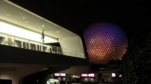 EPCOT monorail station at night
