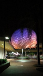 A late night shot of Spaceship Earth at Disney's EPCOT